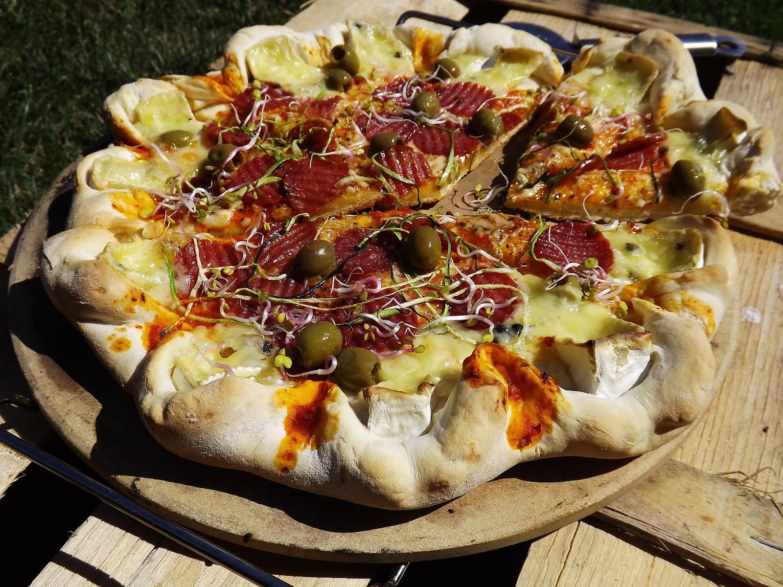 Pizza z grilla z dwoma serami i chipsami z salami