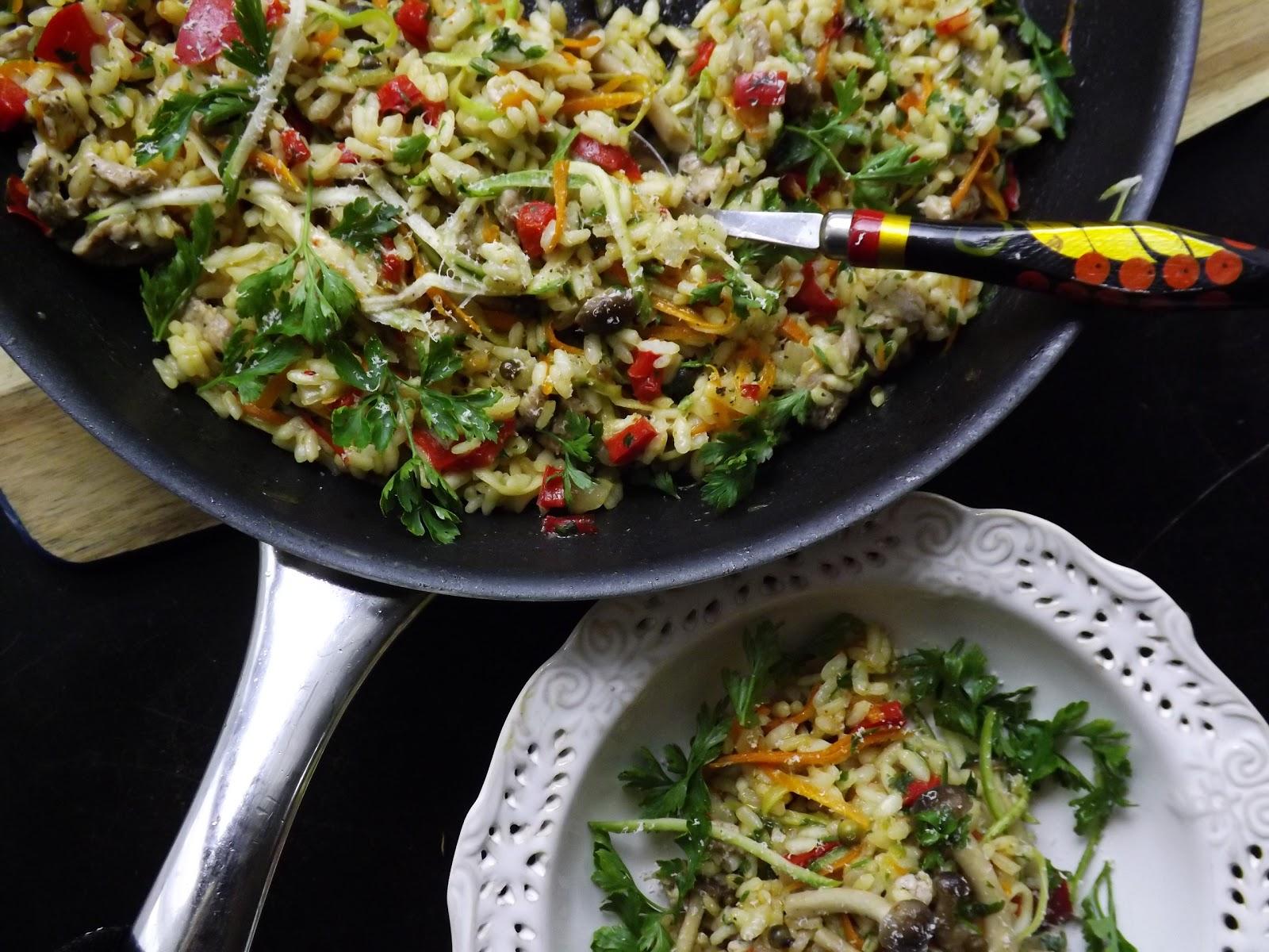 Risotto z polędwiczkami, warzywami i chińskimi grzybkami
