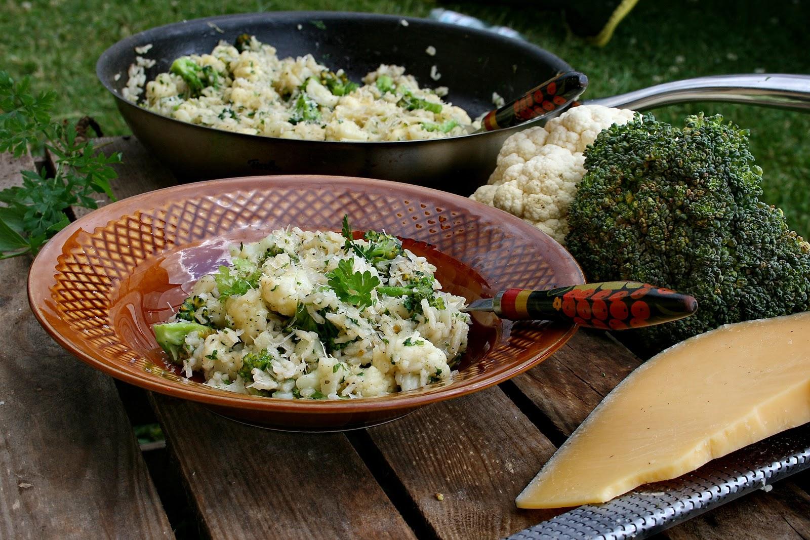 Risotto z chrupiącym kalafiorem i brokułem