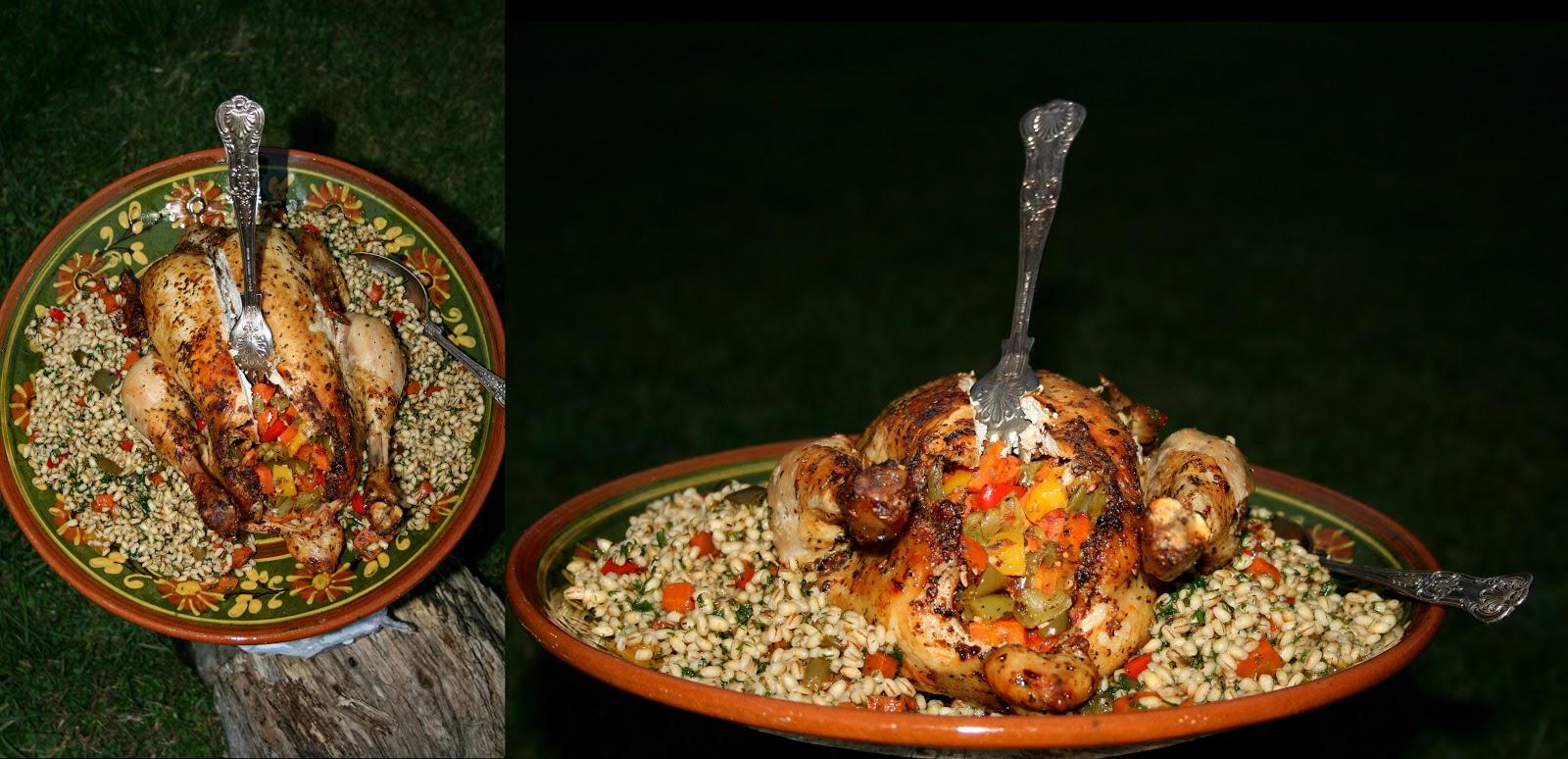 Pieczony kurczak nadziany warzywami z pęczakiem z nuta ostrości