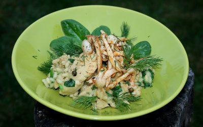 Polędwiczki w zielonym risotto, z grzybkami o nucie wędzonej papryki