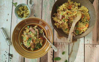 Risotto z kiełbasą i warzywami